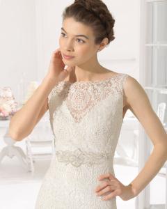Adelaida vestido de novia tejido guipur