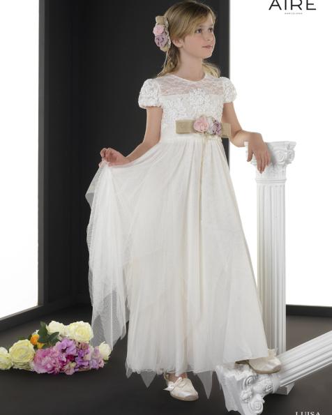 Luisa vestido de comunión corte imperio