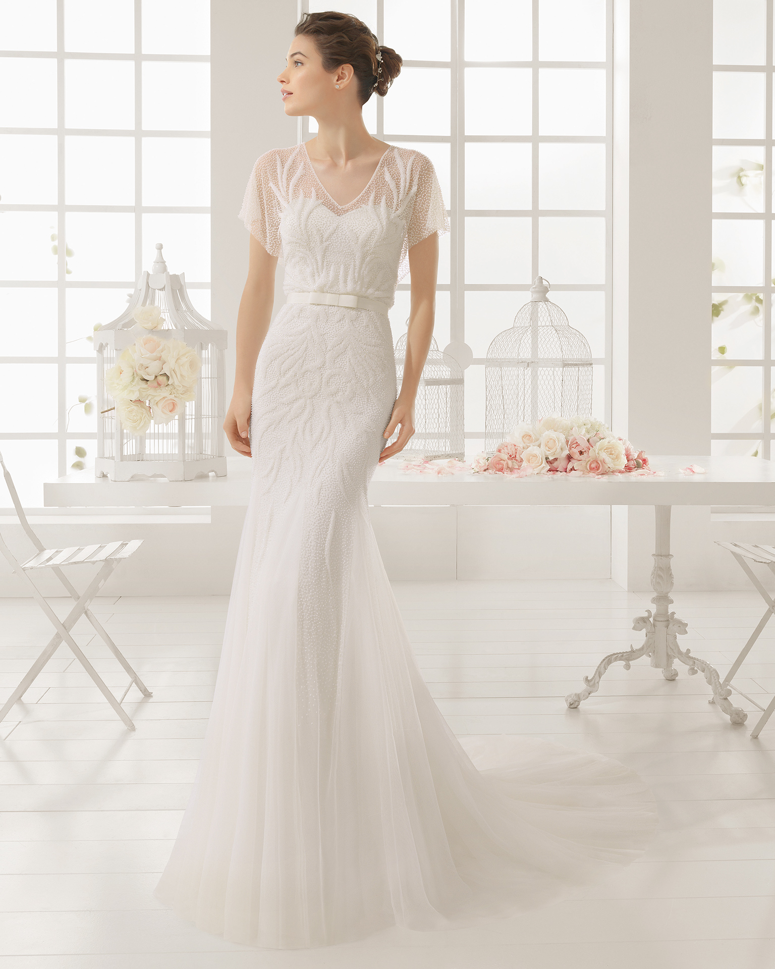 MADIAN beaded tulle wedding dress.