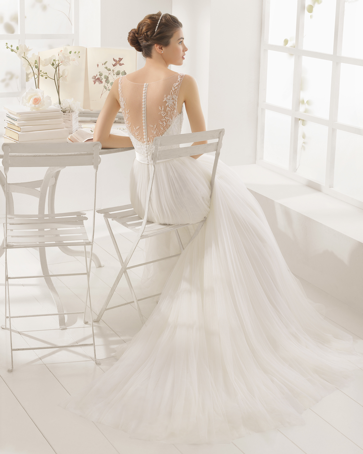 MAGDA beaded embroidered tulle wedding dress.