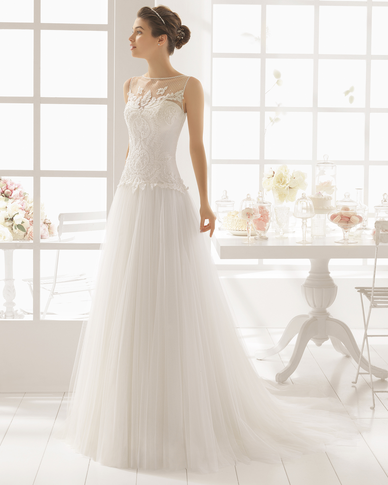 MALASIA beaded lace and tulle wedding dress.
