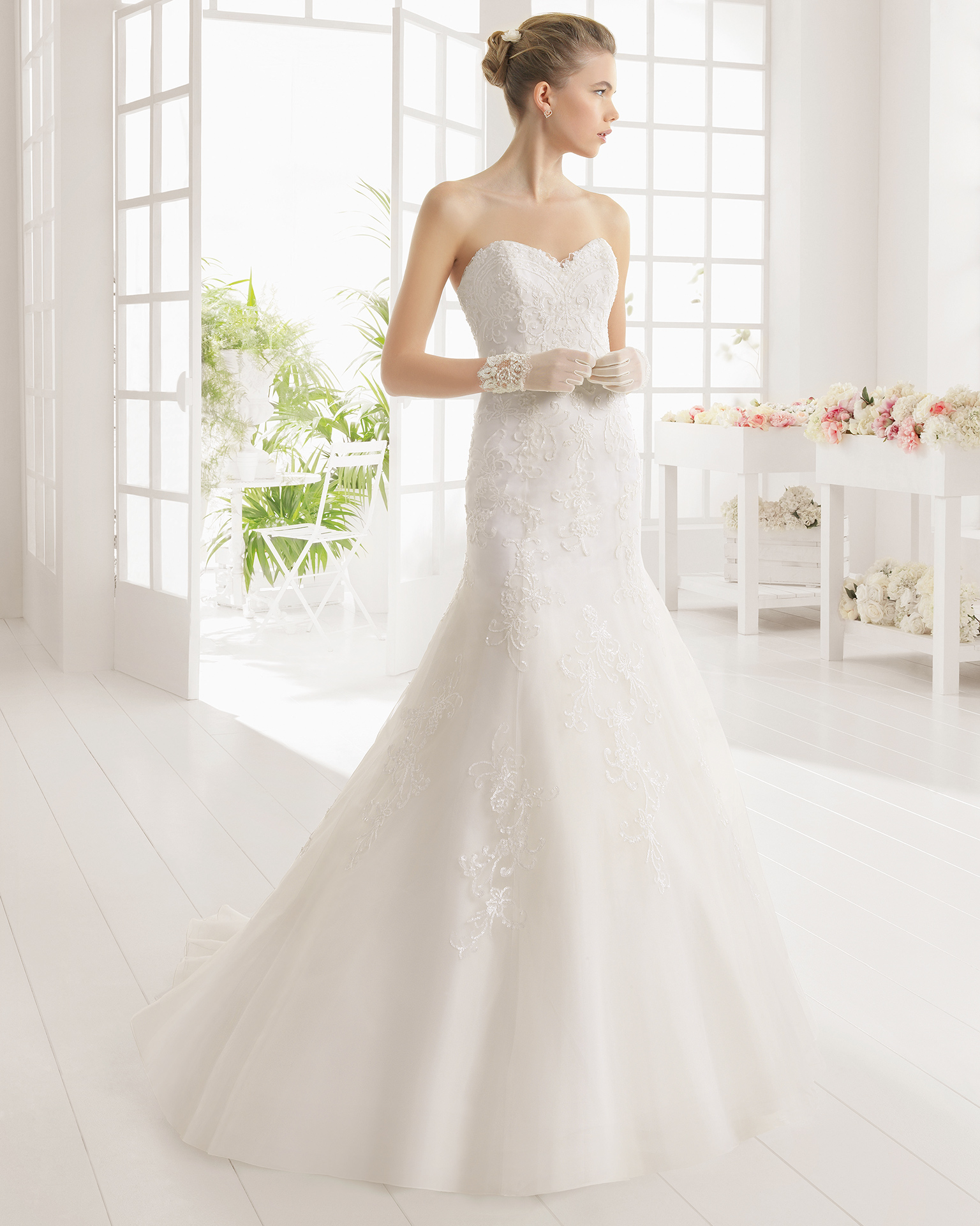 MARIETTE beaded embroidered tulle wedding dress.