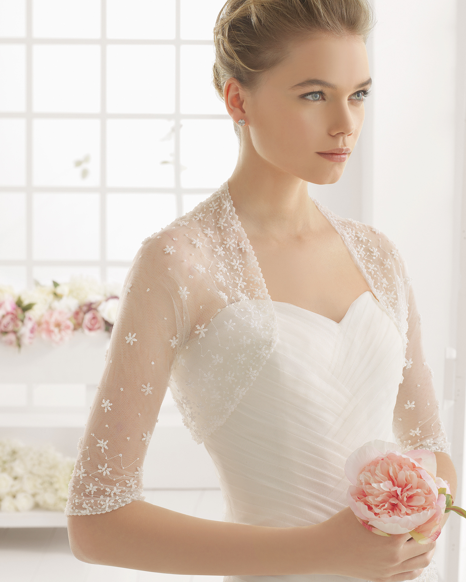 MAR beaded guipure and tulle wedding dress.