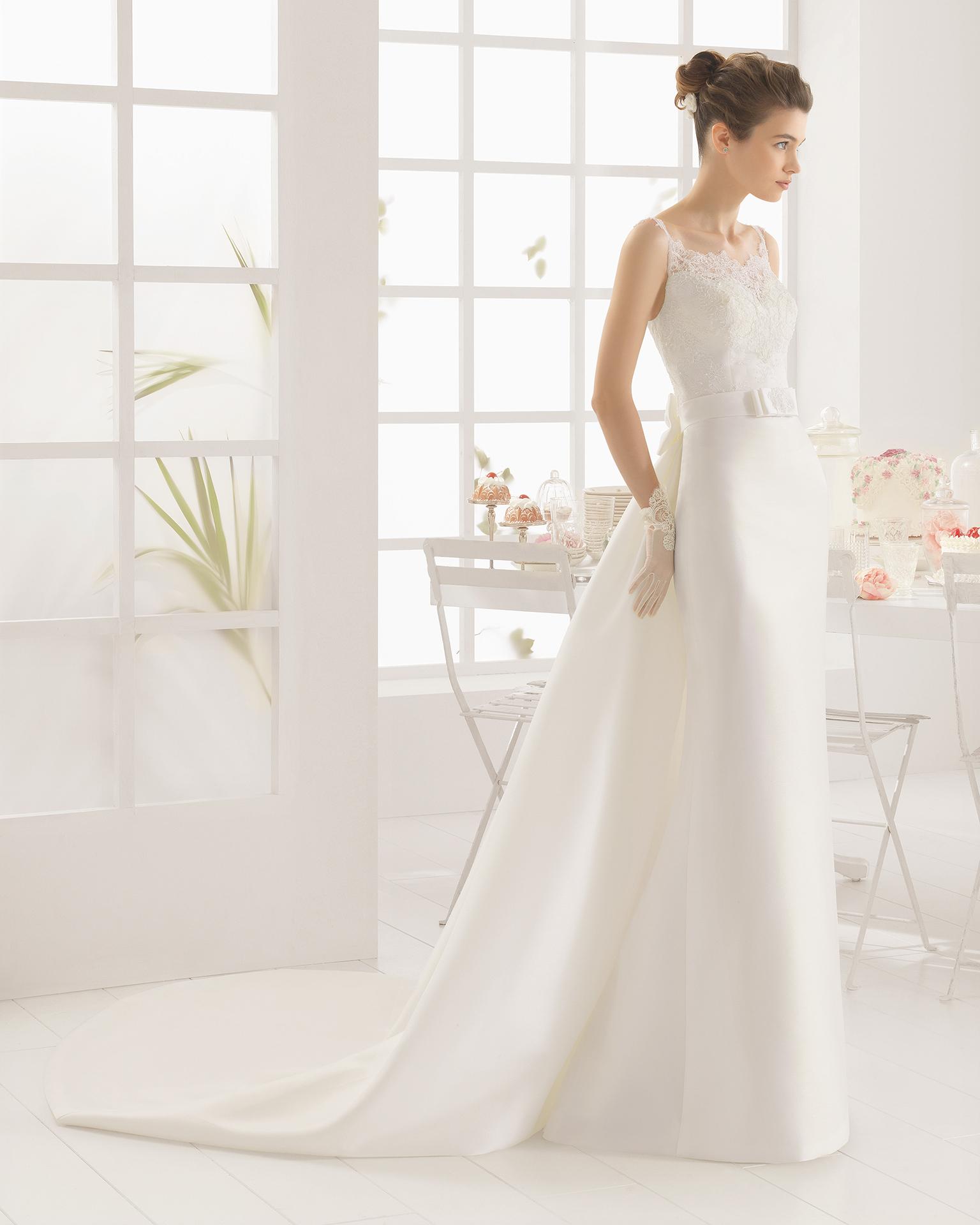 MELYS beaded mikado, duchess satin and lace wedding dress.