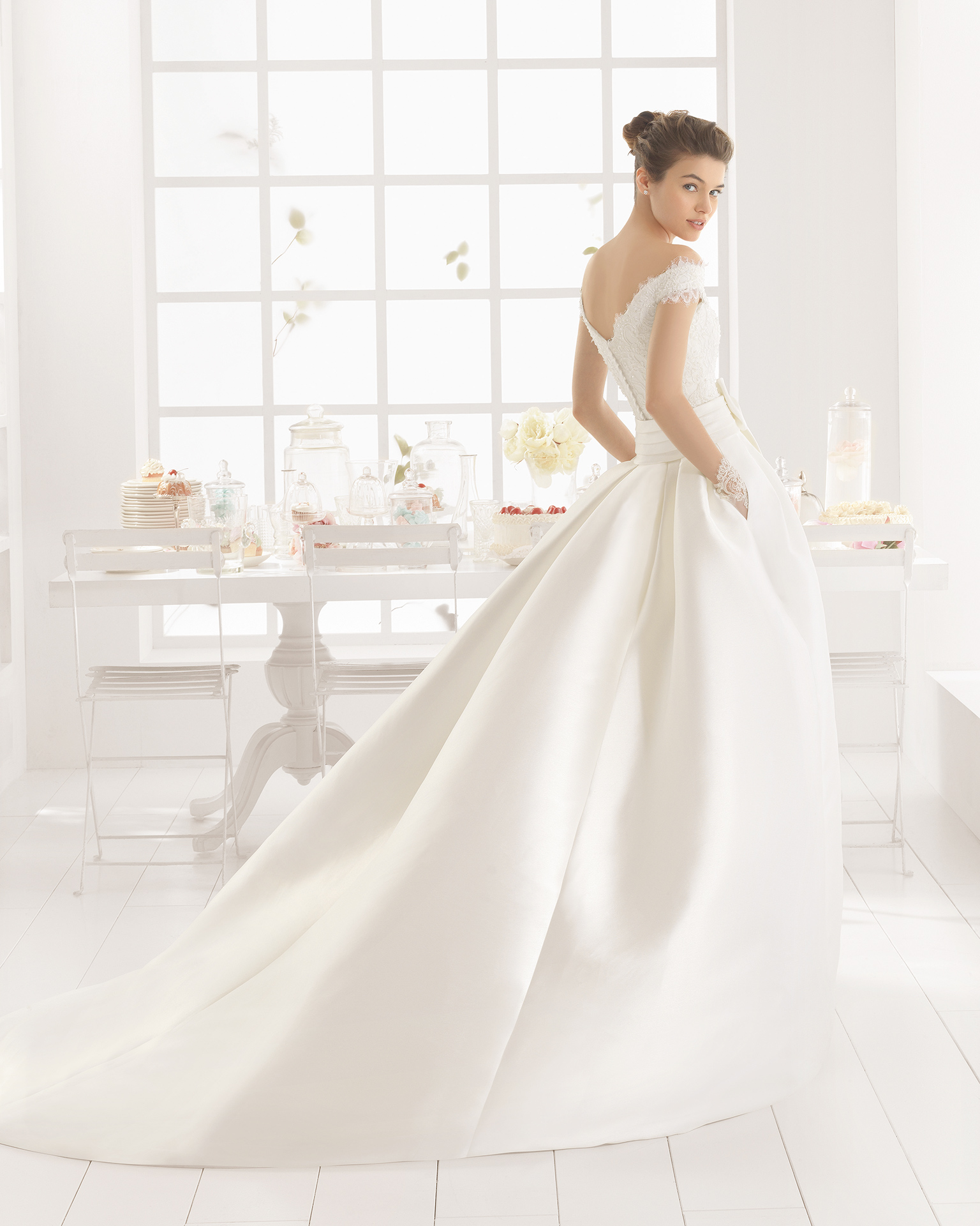 MENTA beaded mikado and lace wedding dress and overskirt.