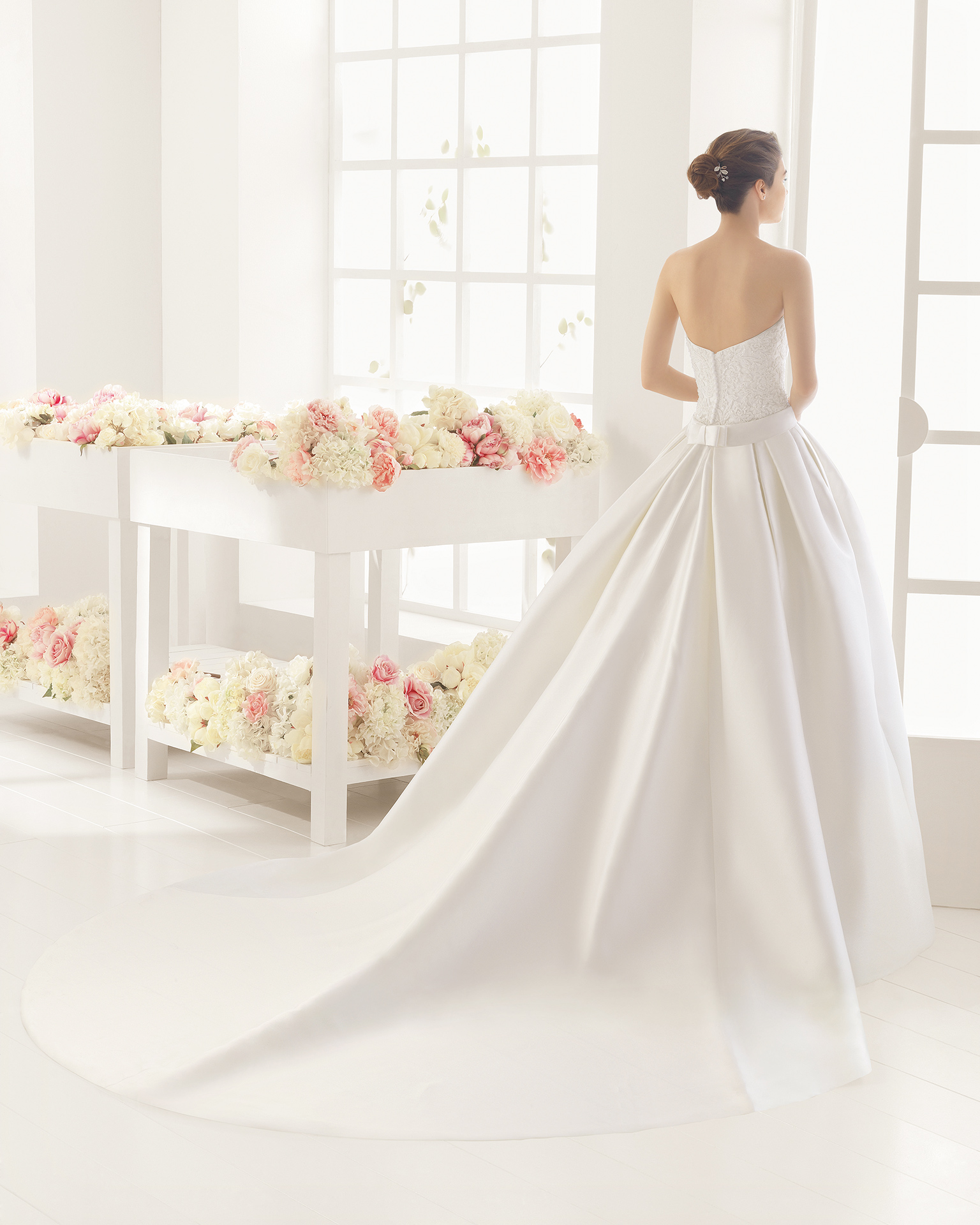 MICHELE beaded mikado and guipure wedding dress.