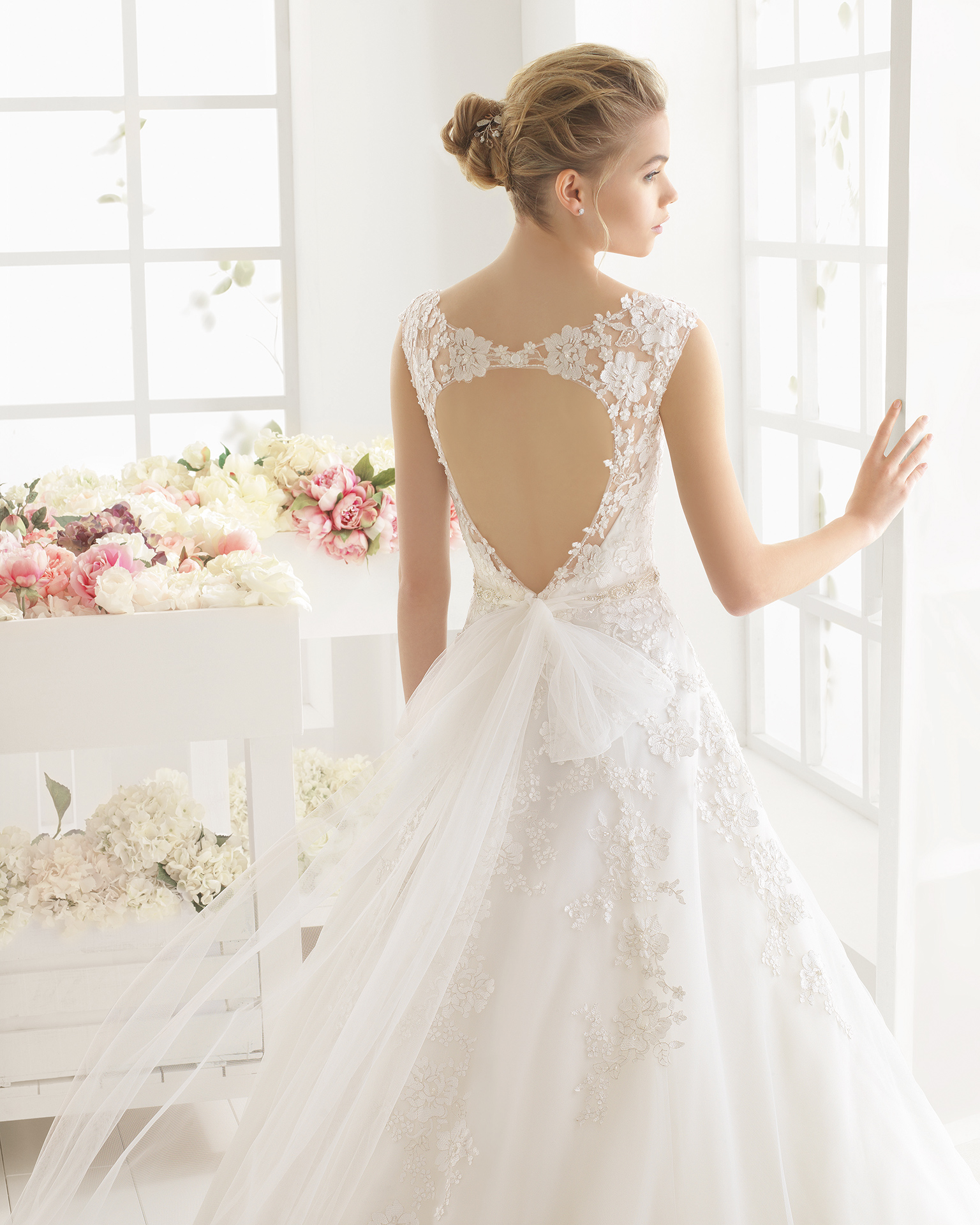 MIREIA beaded lace and tulle wedding dress.