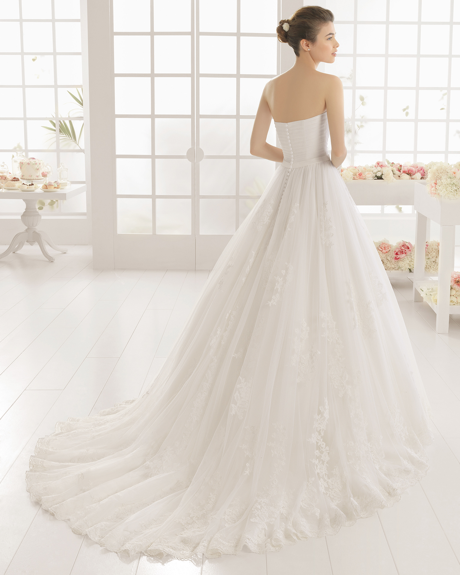 MIRLO beaded lace and tulle wedding dress.