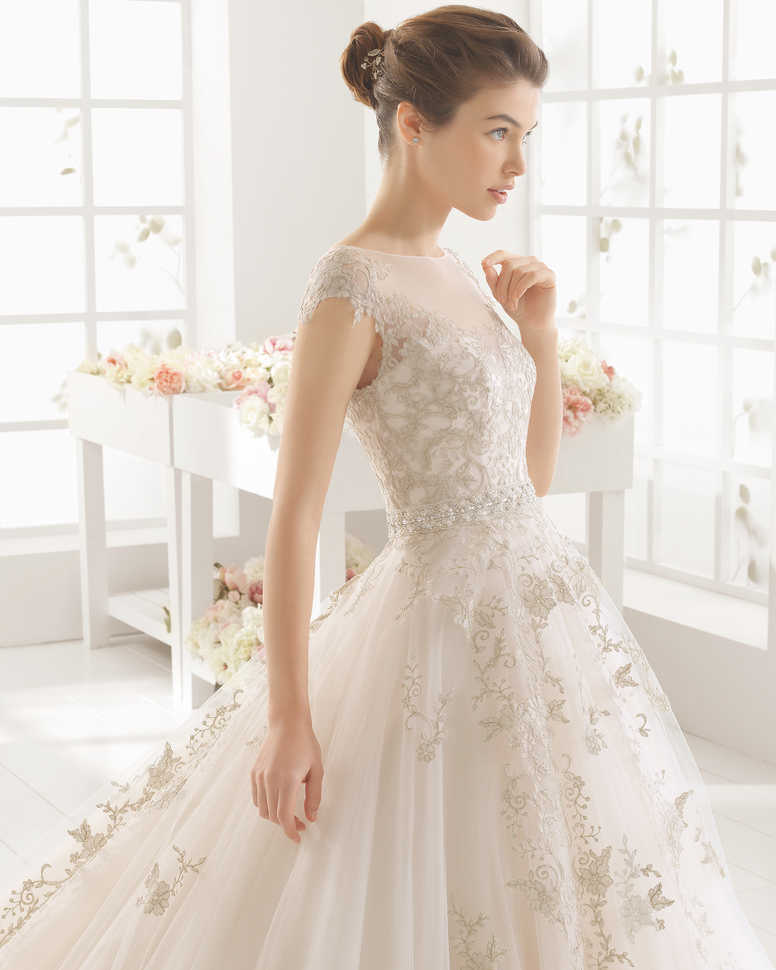 MONACO beaded lace and tulle wedding dress.