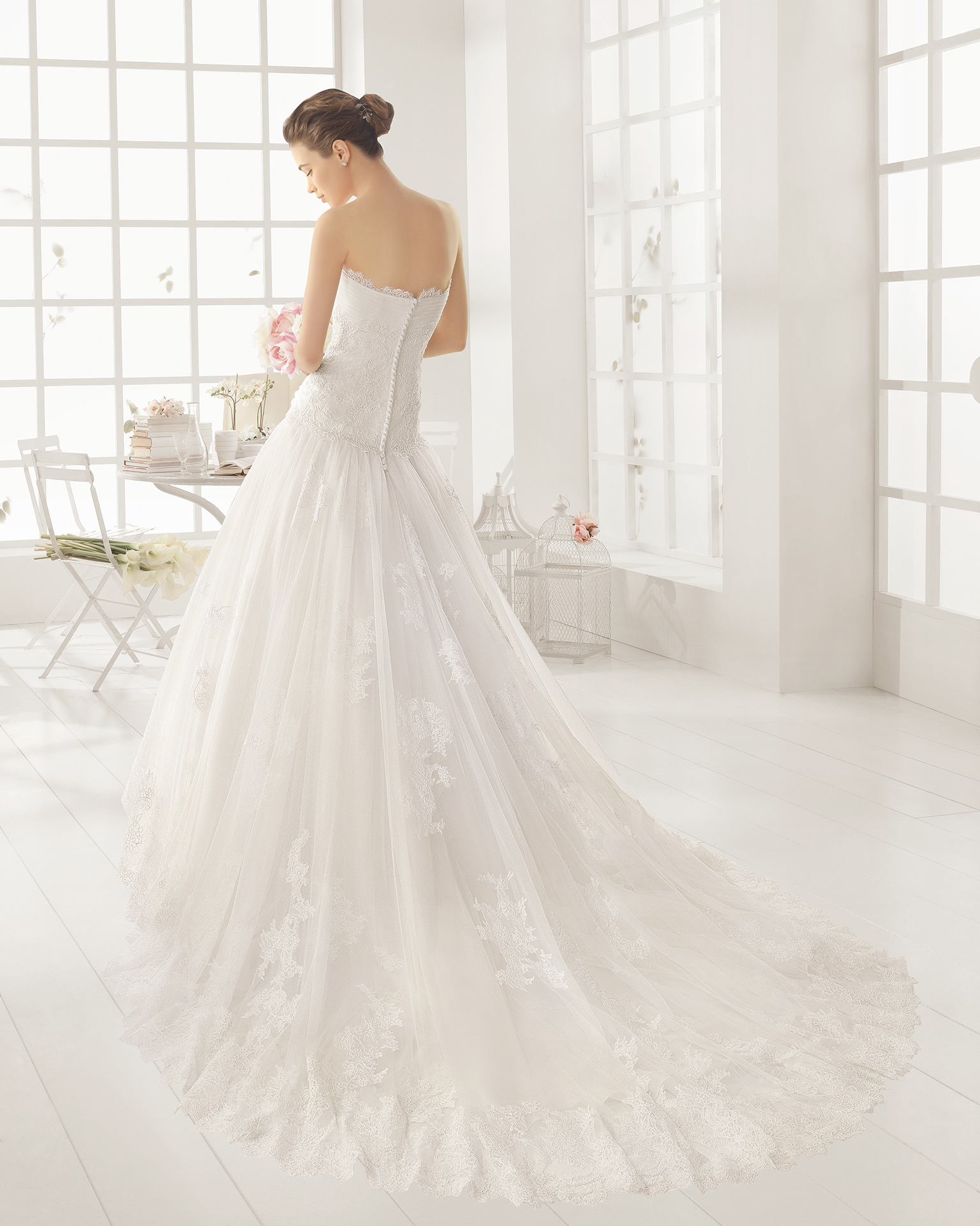 OLOT beaded lace and tulle wedding dress.
