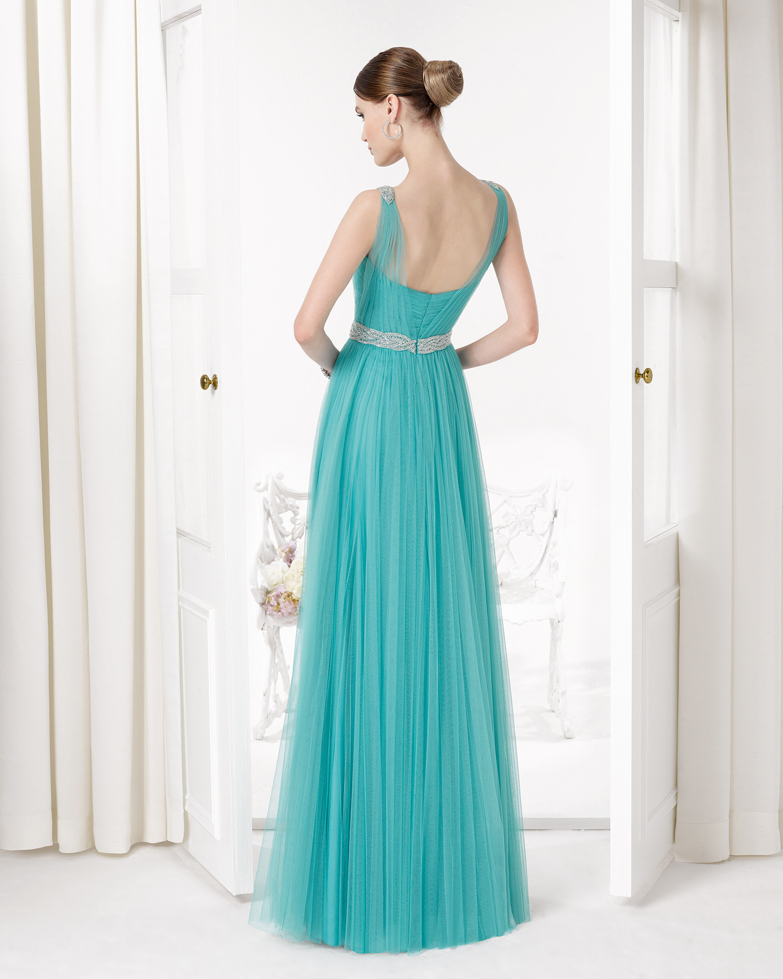 9U2A2 - Beaded silky tulle cocktail gown.