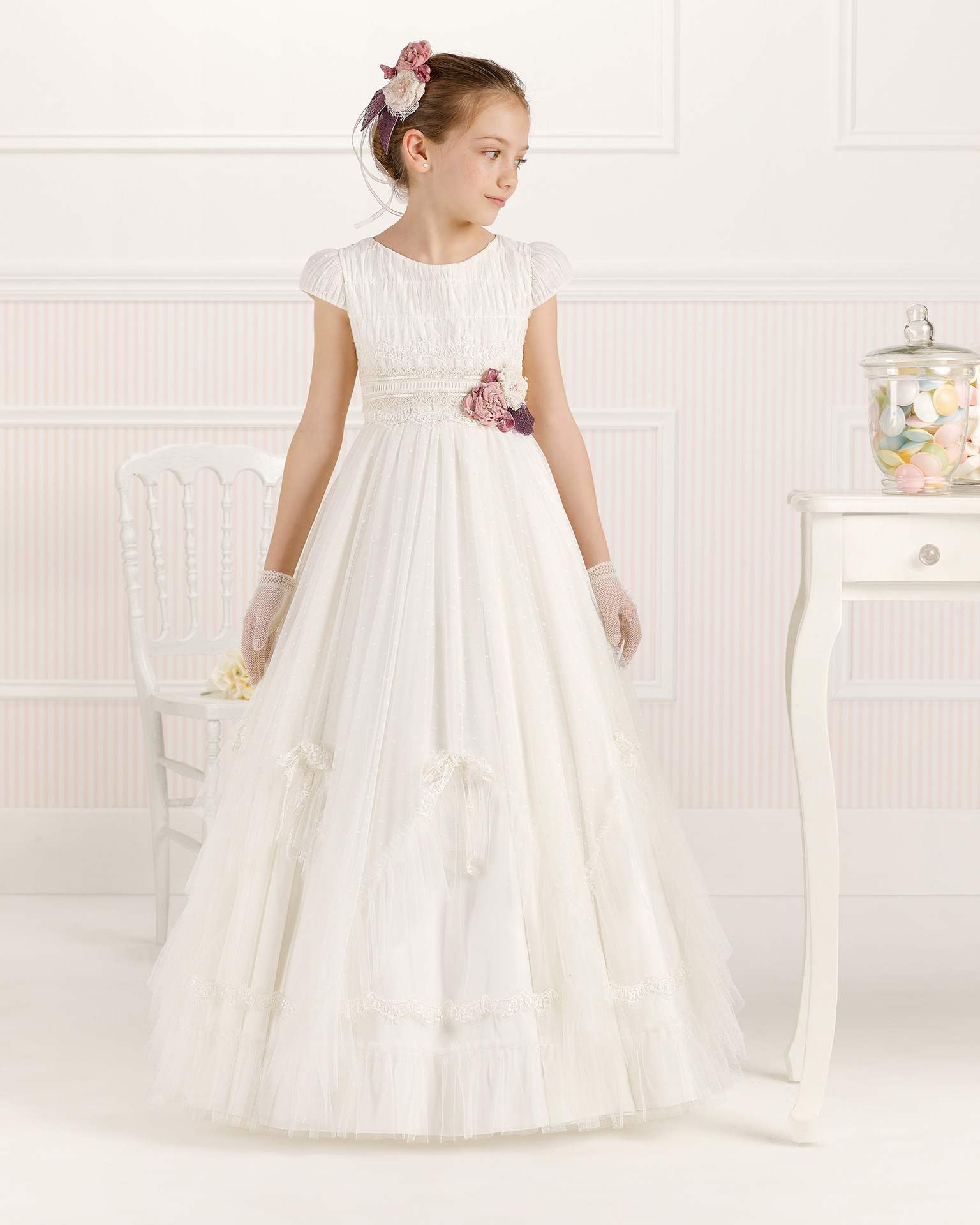 9O102 ballgown-style First Communion dress