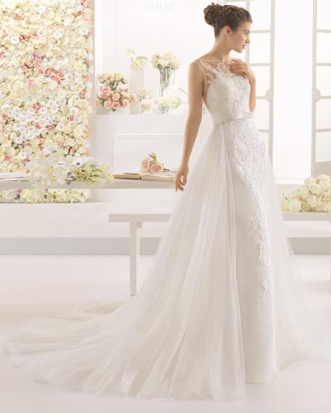 CARAMELO rochie de mireasă din dantelă tul și strasuri.