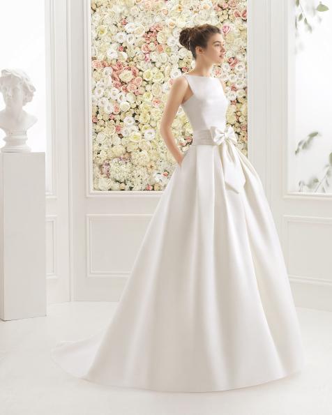 CHARLINE vestido de cetim duquesa/mikado e brilhantes.