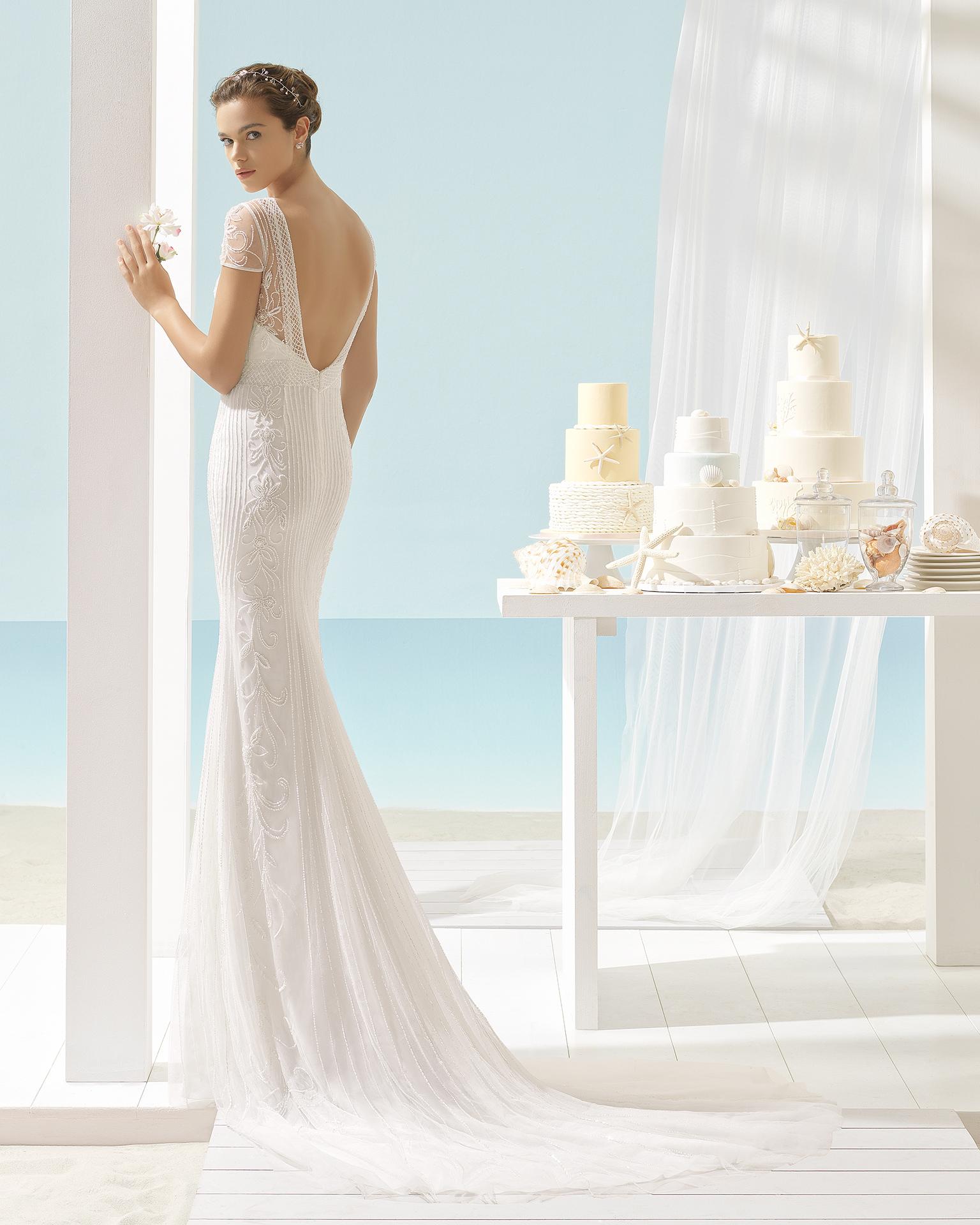 XANDRA wedding dress - Aire Barcelona Beach Wedding 2017