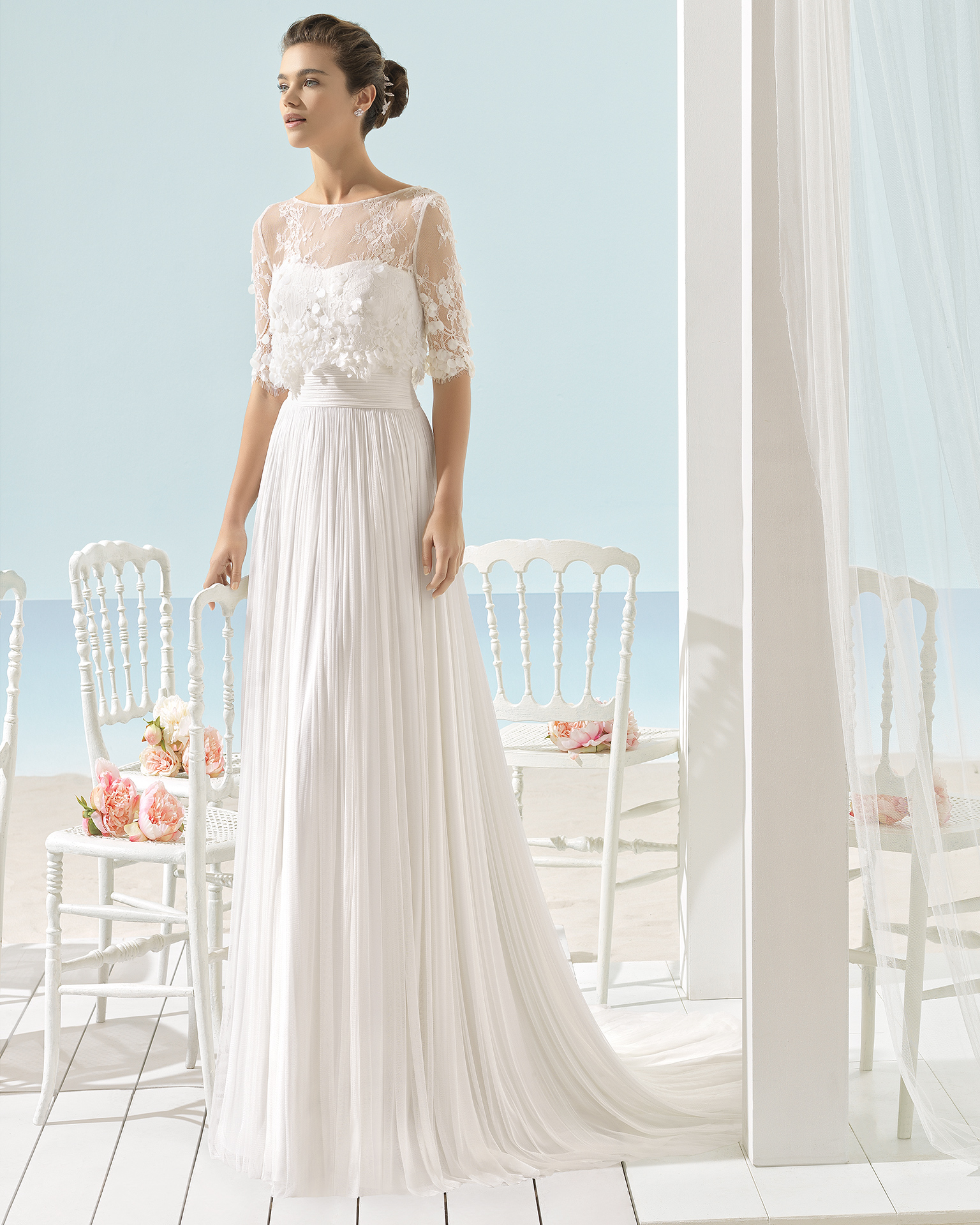 XENA Abito da sposa Aire Barcelona Beach Wedding 2017