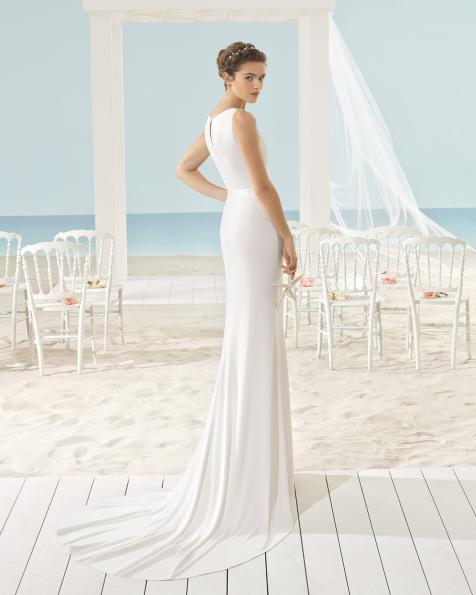 XIMEI schmales Kleid aus elastischem Crêpe.