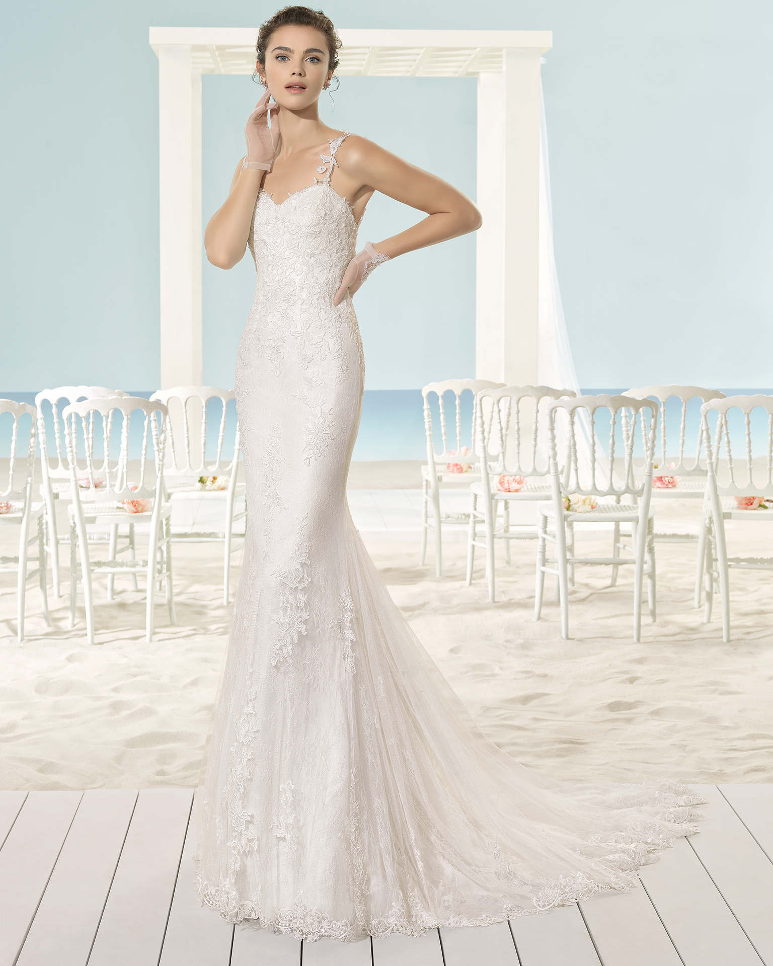 XOEL Abito da sposa Aire Barcelona Beach Wedding 2017