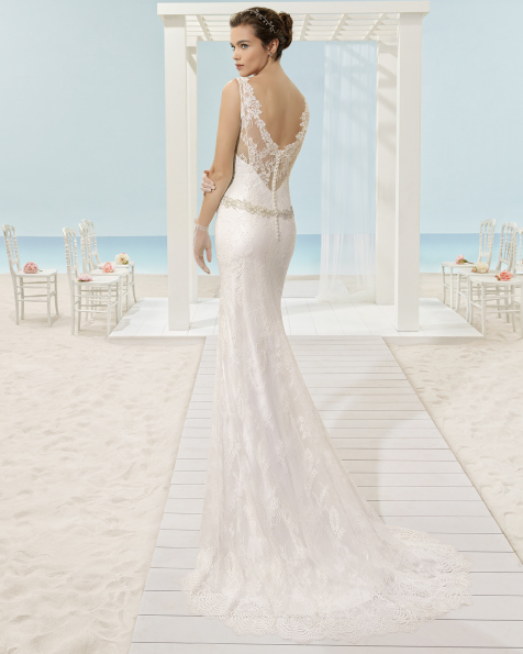 XYLIA lace dress and overlay with V-neckline and dropped waist.
