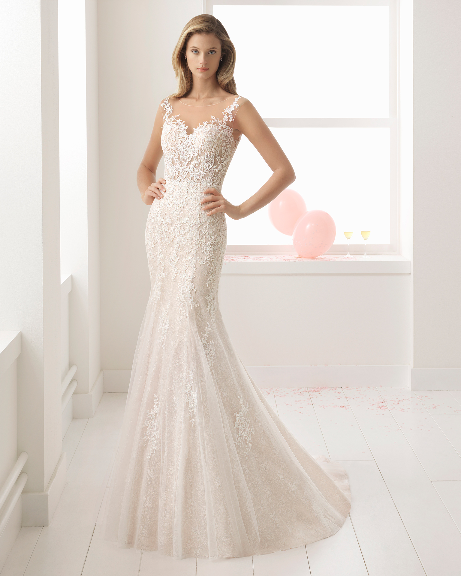 Romantic-style sheer lace wedding dress with illusion neckline, in rose and natural.