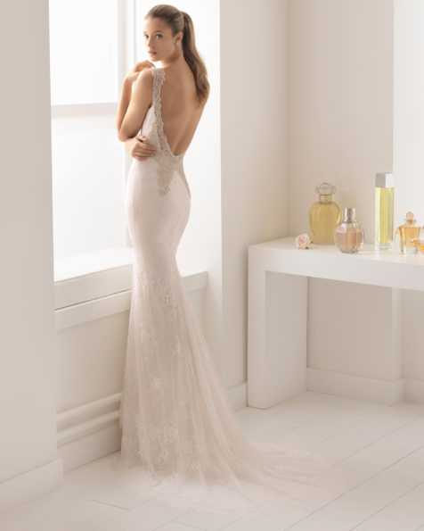Romantic-style lace wedding dress with Queen Anne neckline and jewelled back, in nude and natural.