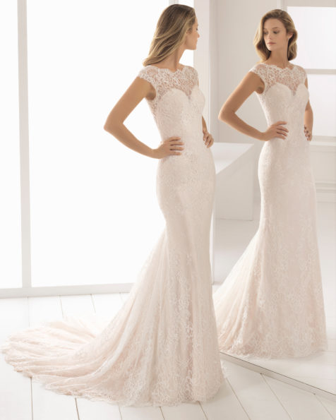 Romantic-style lace wedding dress with illusion neckline, in natural and nude.