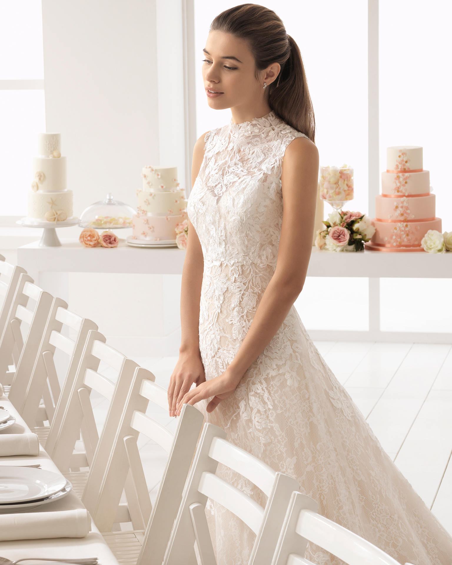 Romantic-style lace wedding dress with sweetheart neckline, in nude and natural.