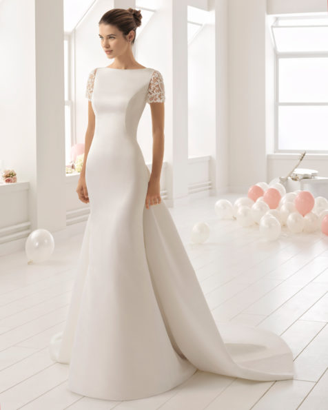 Mermaid-style ottoman wedding dress with short sleeves, beaded lace back, bateau neckline and train.