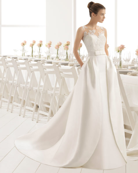 Classic-style close-fit mikado wedding dress with embroidered matt cotton guipure lace, tattoo-effect back and mikado overskirt, in natural.