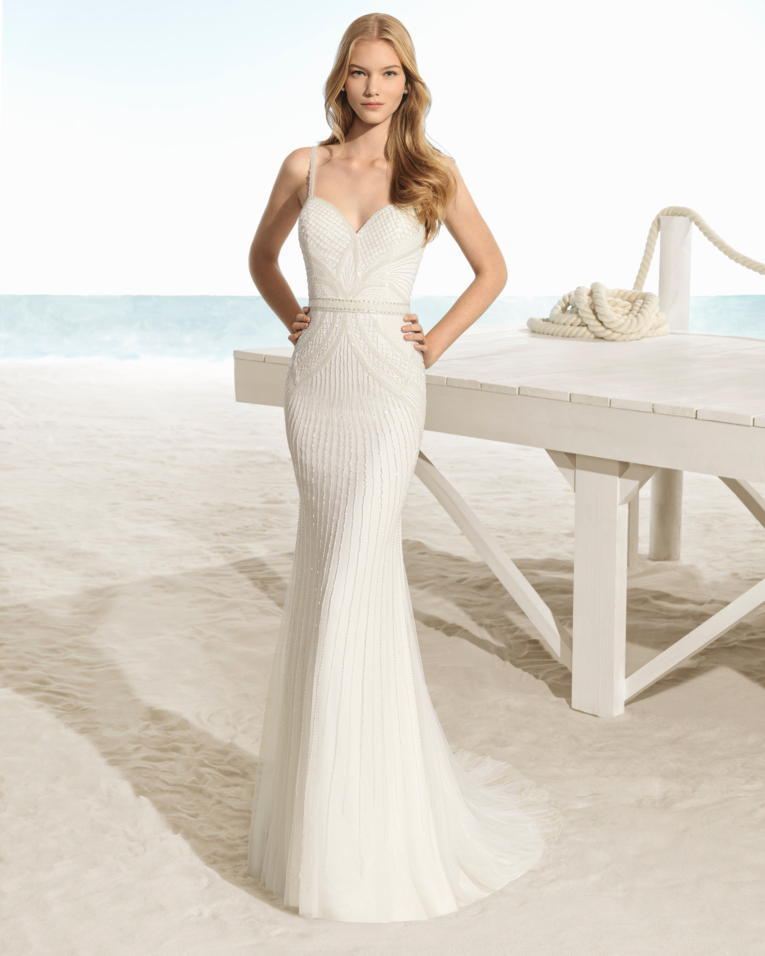 Boho-style beaded wedding dress with sweetheart neckline and V-back, in natural and natural/silver.