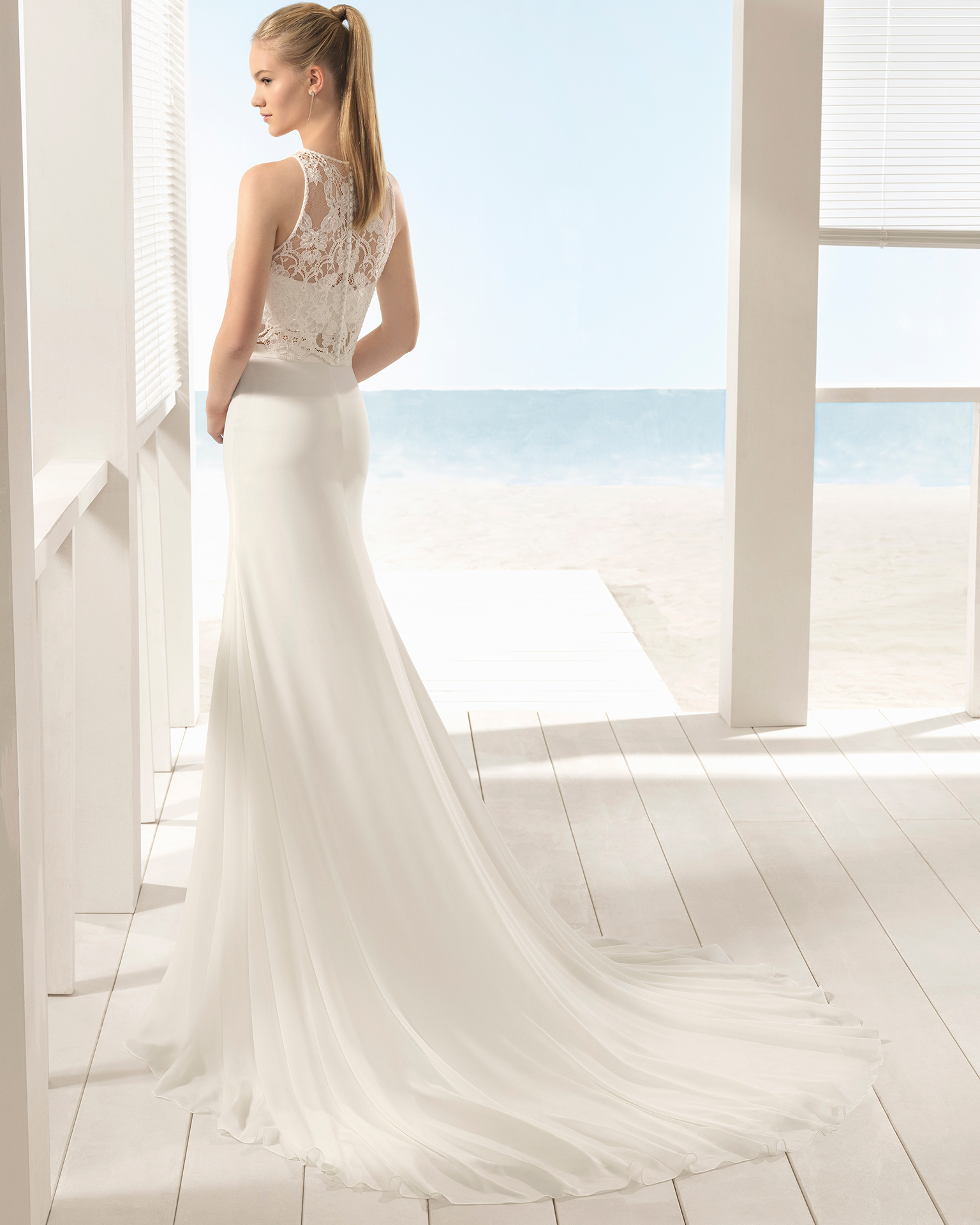add9523b03a Boho-style beaded lace and crepe Georgette three-piece wedding dress with  halter neckline ...