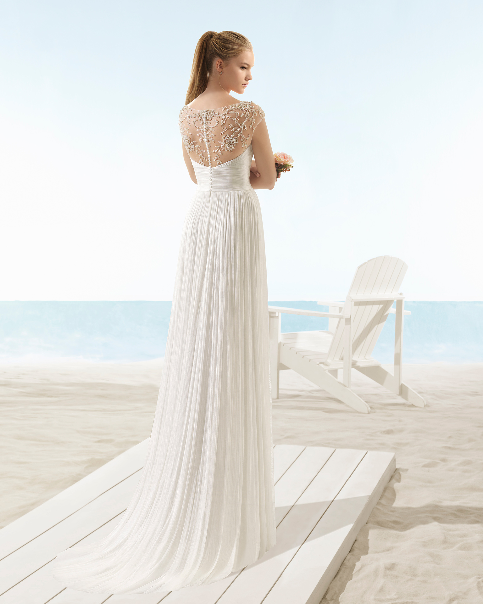 Lightweight silk muslin wedding dress with V-neck and jewelled back with beading, in natural.