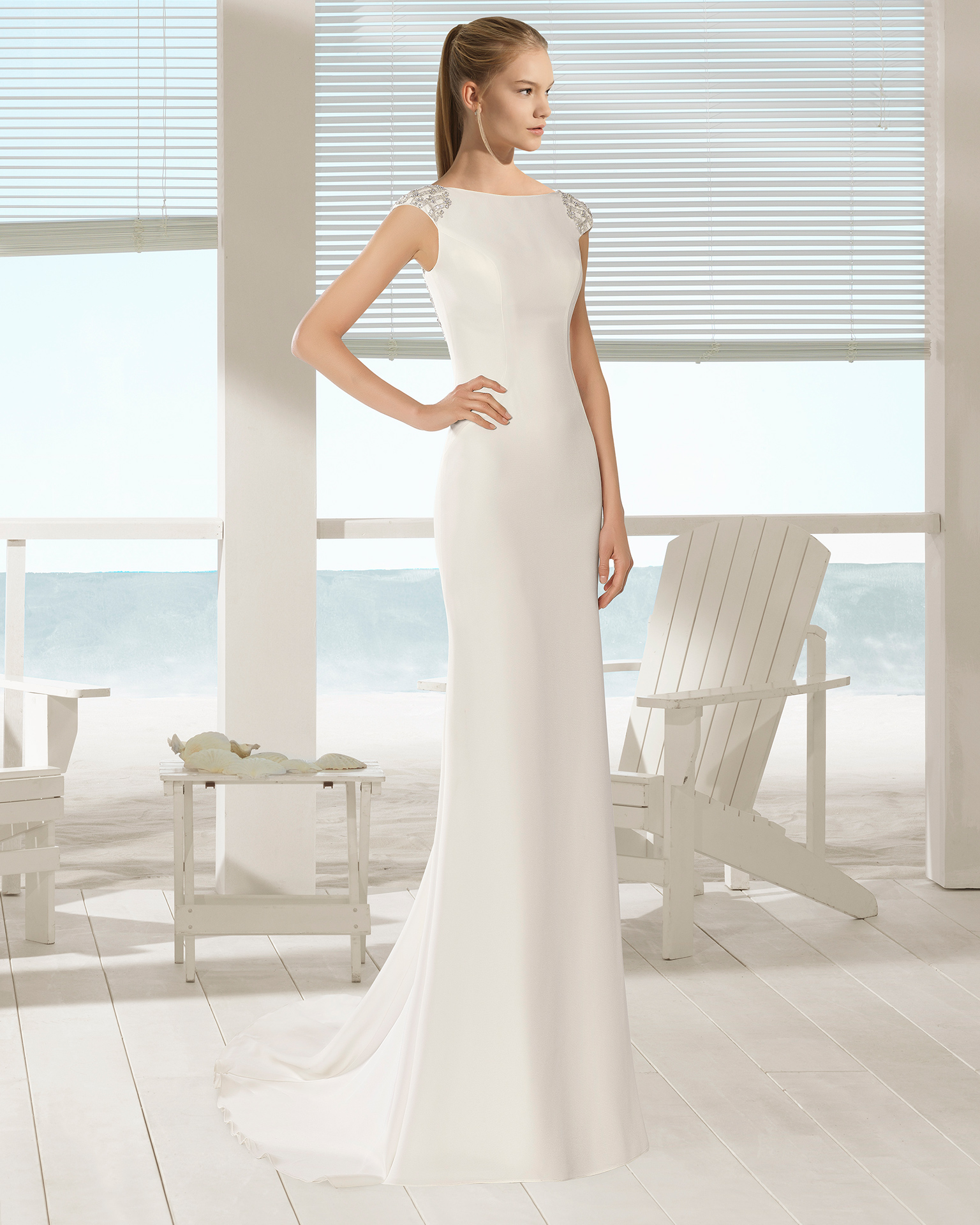 Crepe sheath wedding dress with bateau neckline and jewelled back, in natural.