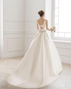 005efca1ef Classic-style tailored mikado wedding dress with bateau neckline