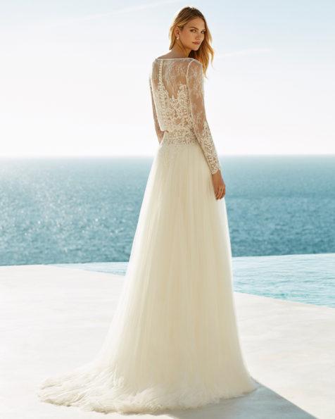 Vestido de noiva de três peças Boho de tule suave, renda e brilhantes, de manga comprida e jaqueta.