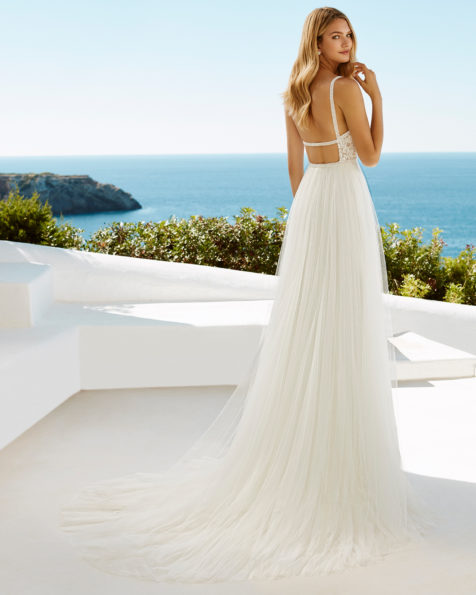 A-line beaded guipure lace and tulle wedding dress with low back, in natural/nude.