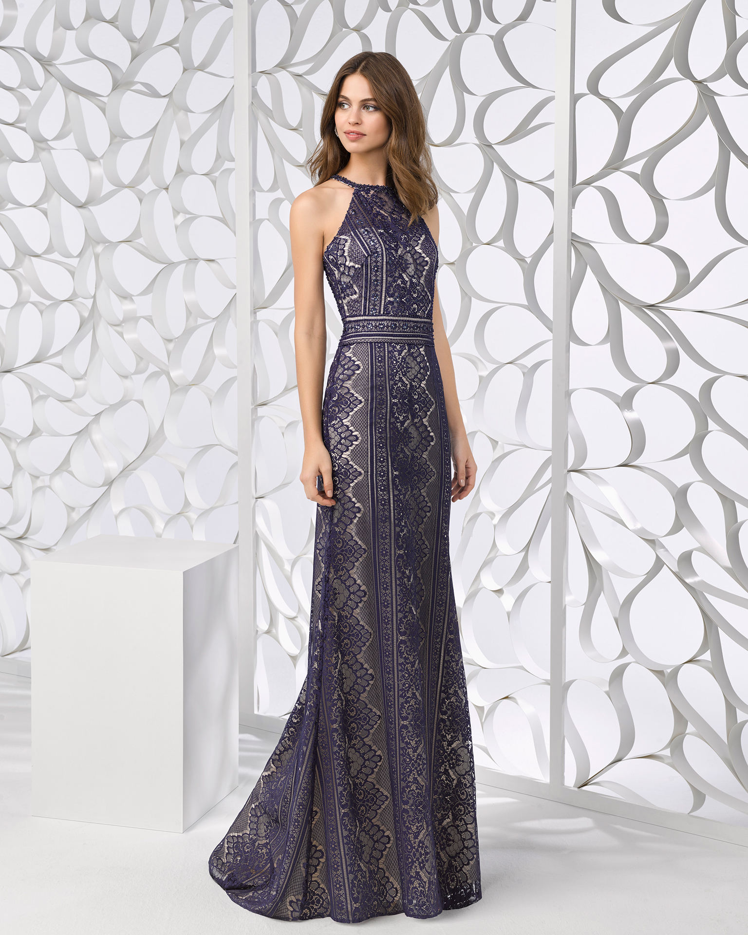 b379085db31 Long beaded lace cocktail dress with shawl and halter neck. Available in red  and navy ...
