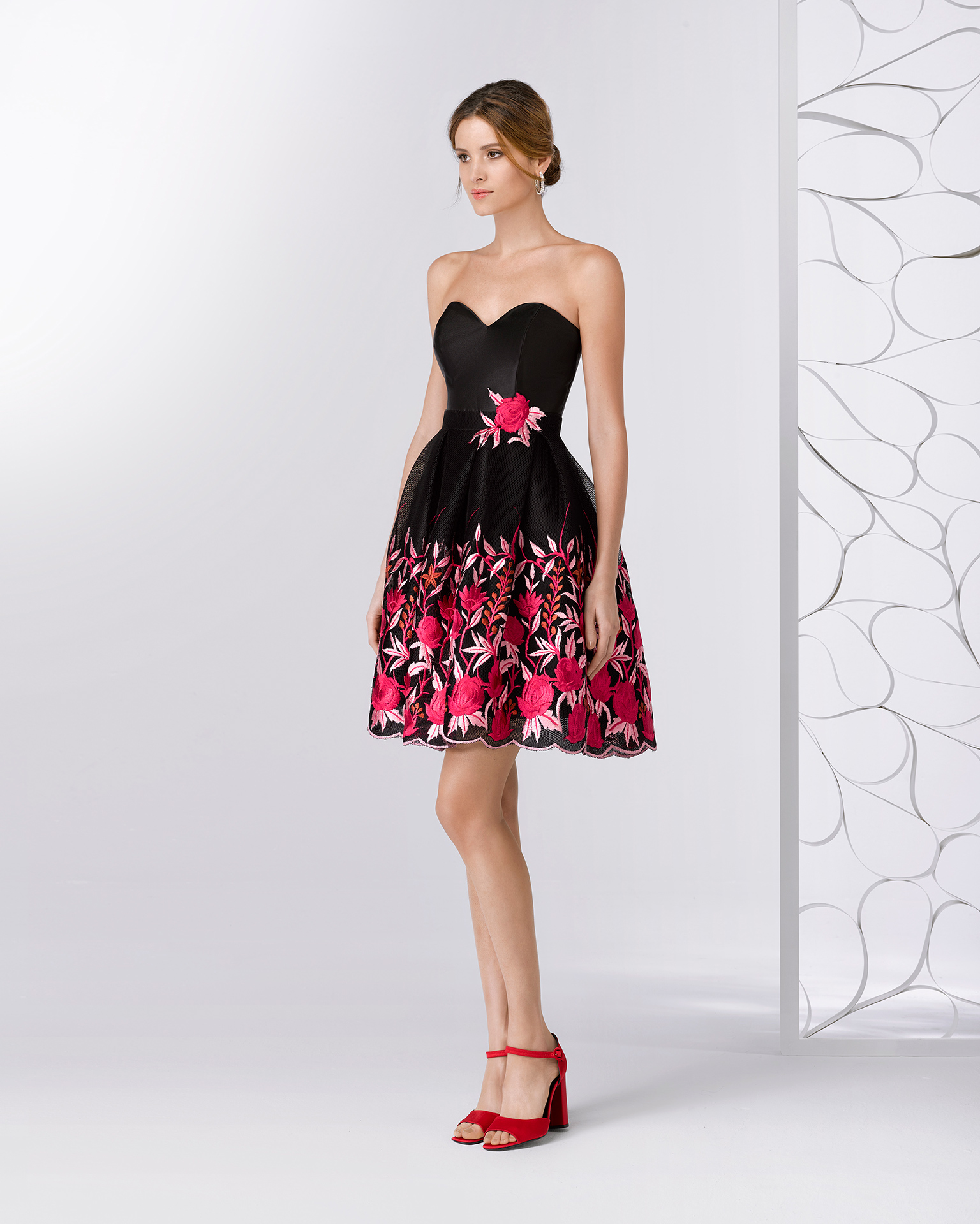 e35d6773aaa Short cocktail dress with embroidered mesh sweetheart neckline and shawl.  Available in black print.