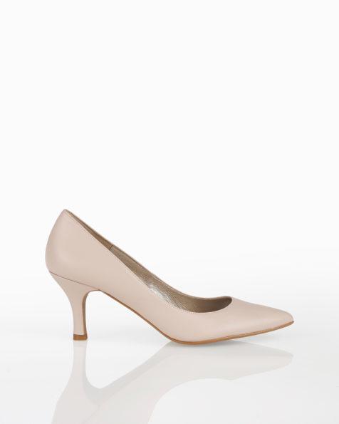 Pantofi de mireasă decoltați, din piele cu toc jos, disponibili în culorile ecru, nude, auriu și argintiu. Colecția AIRE BARCELONA 2018.