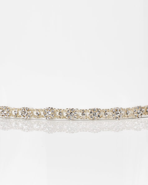 Metal and crystal bridal diadem with organza ribbon, in gold. 2018  Collection.