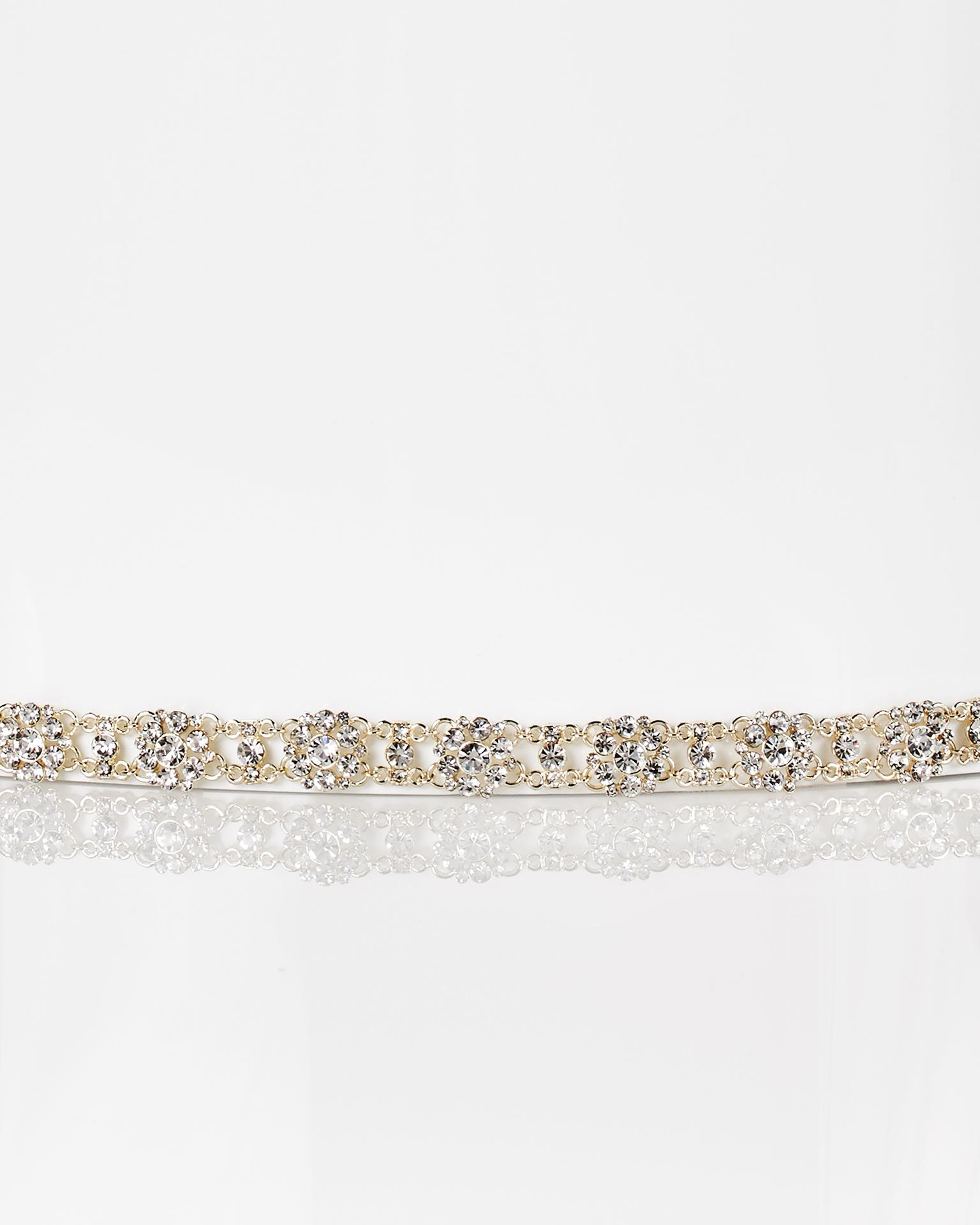 Serre-tête de mariée en métal et cristal avec ruban en organdi, de couleur or. Collection  2018.