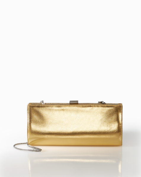 Clutch de cocktail en cuir, disponible en couleur or et dune. Collection FIESTA AIRE BARCELONA 2018.