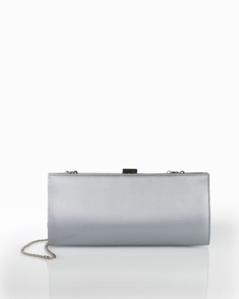 Clutch de cocktail en satin, disponible en couleur noire, rouge, cobalt et gris plomb. Collection FIESTA AIRE BARCELONA 2018.
