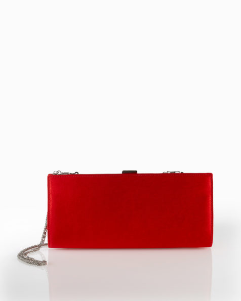 Satin cocktail clutch bag, available in black, red, cobalt and lead. 2018 FIESTA AIRE BARCELONA Collection.
