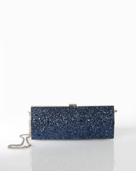 Glitter cocktail clutch bag, available in black, lead, navy blue, silver and champagne. 2018 FIESTA AIRE BARCELONA Collection.