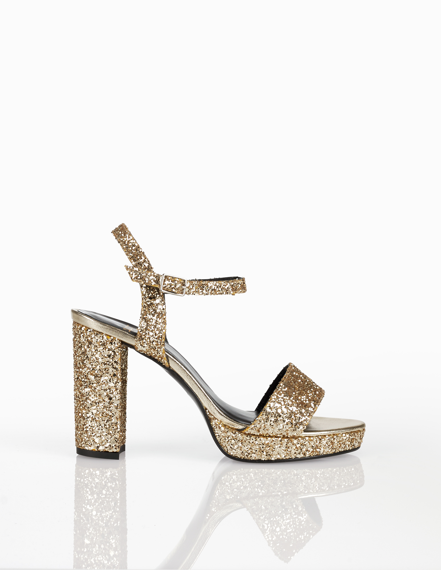 Glitter cocktail platform sandals with high heel, available in black, lead, navy blue, silver and champagne. 2018 FIESTA AIRE BARCELONA Collection.