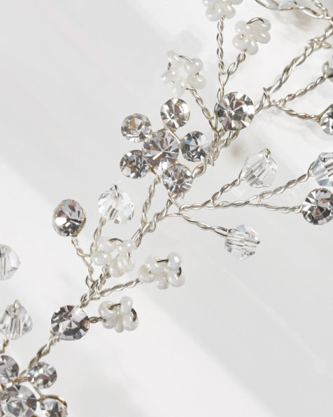 Metallic fibre and crystal bridal diadem with organza ribbon, in silver. 2019 MARTHA_BLANC Collection.