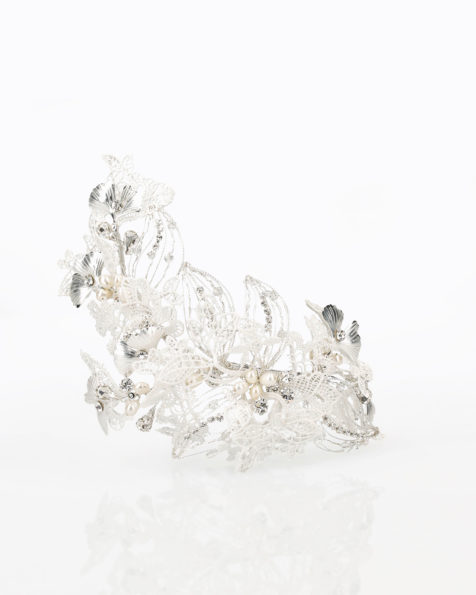 Guipure lace and metal bridal brooch with crystal detail. 2019 MARTHA_BLANC Collection.