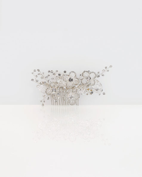 Metal and crystal bridal mantilla comb, in silver. 2019 MARTHA_BLANC Collection.