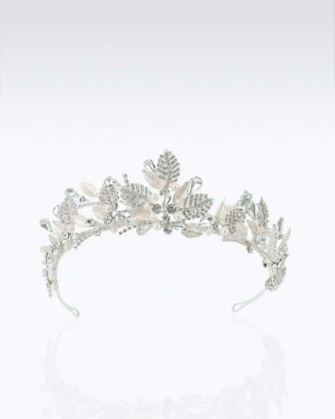 Crystal and metal bridal crown. Available in silver and rose. 2019 MARTHA_BLANC Collection.